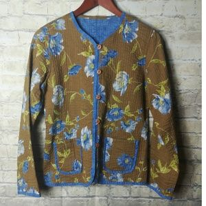 Jackets & Blazers - Quilted reversible floral & plain jacket